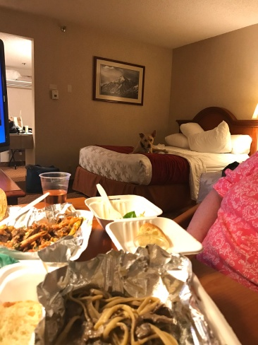 Creeper watching us eat. #hotelLife
