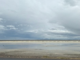 Bonneville Salt Flats along I-80 in Utah. Mom thought there was snow on the ground it was so white. This photo doesn't begin to do it justice.