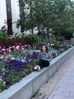 (Slightly out of order) Glamour shot mom took of me in SLC, visiting LDS campus. Those flowers!!