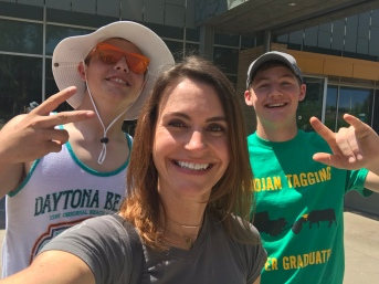"""While I was taking a selfie to send to a friend at the zoo, these guys ran up and asked me to take a photo with them in it. They're adorable and were super enthusiastic (""""we're ready for a group shot. Let's do it!"""") so I couldn't say no."""