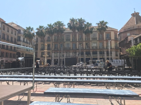 Málaga setting up for the first World Cup game: Spain v Portugal.