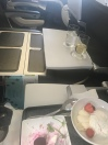 To show seat configuration and the blocked middle seat. And yes, more champagne. Cheers!