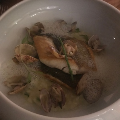 Wild Sea Bass on a risotto with clams and some sort of foam. It really was YUM!
