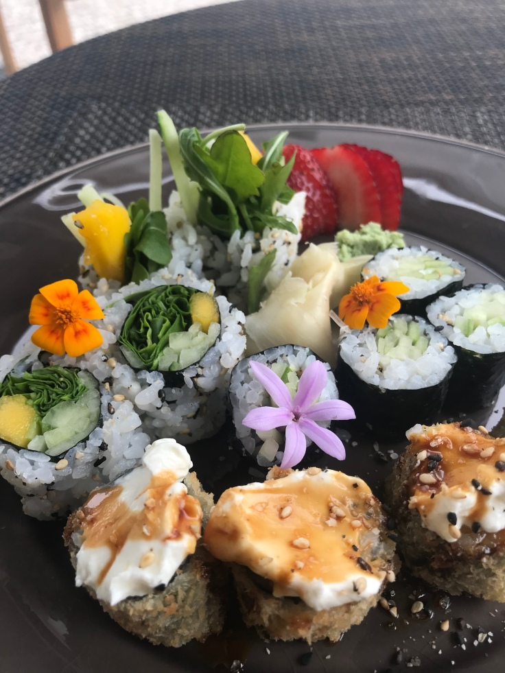 I usually hate cream cheese in sushi, but whatever sauce they put on top (not to mention the rolls, which were OMG) made them beyond delightful. I devoured everything you see here. Minus the plate.