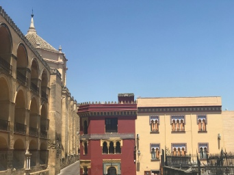The Mezquita on the left. I loved the colors of these buildings against the blue sky. Beauty everywhere!
