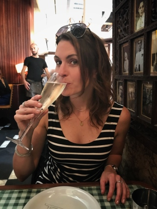 Enjoying a glass of Prosecco. Little did I know the meal I was about to eat would blow my mind.