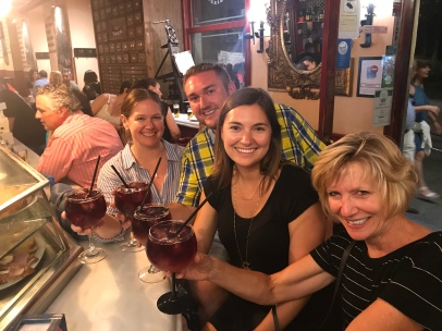 The true nightcap. Alison and I both had to pass our drinks onto Greg. Spain's fave summer drink: tinto de verano. (Similar to sangria, but more simple- red wine mixed with a Fresca-type soda.) He was quite the team player that night!