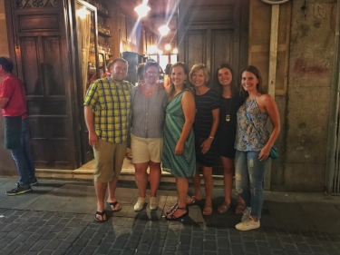 Our wonderful crew for the night ( huge thanks to the Spanish man who I pretty much accosted as he was walking past us to take a photo of us): Greg, Allison, Staci, Jill, Elizabeth, and me