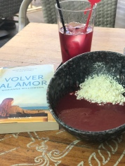 The best Gazpacho I've had in my life. Paired with traditional summer wine (similar to Sangria) and the Spanish language version of one of my fave books (Return to Love).