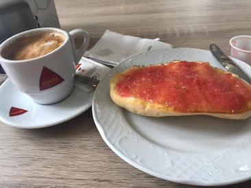 They actually blend the tomato so it's easier to spread across toast. Also, their choice of bread for toast is so much better than the thin, sliced stuff we typically eat in the US!