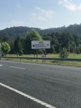 First time I recall seeing a road sign for Santiago! But 40km by car = >60km by foot on the Camino.