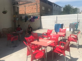 Life on the Camino: post-hike clothes drying (after a mandatory wash, because, stinky!) and then relaxing. Our albergue had a lovely courtyard to relax in.