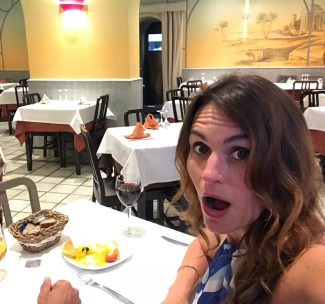 The face you make when you're the only people in the restaurant.