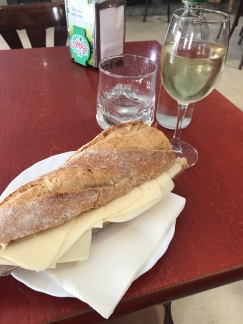 After about 22km, we had to wait 5.5 hours to check into the alburgue, so headed to the closest bar (Casa Dios) for lunch. That's one helluva cheese sandwich (for 1.60€!!)