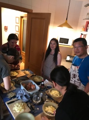 Our hostess, Lola (far left), Yanray Rozier, and Peiqi Fang. And the back of lovely Felicia and Li Hua's heads! So sad I did not get a photo with their faces!! Step 1: peel potatoes and slice into thin pieces. Dice an onion.
