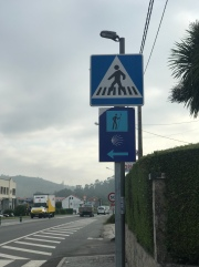 Signs alerting drivers to pay attention to Peregrinos can be found throughout the roads along The Way.