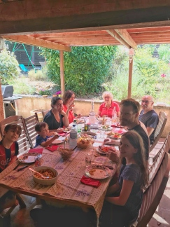 Dinner at Marjorie's parents' home in Aix.