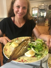 Jessy and the grilled sole fish we all had. It was absolutely delish. Worth it.