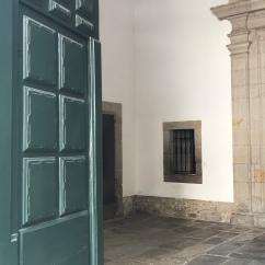 Look for the green door.