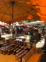 My favorite kind of market! Food and HONEY! Way better than clothes.