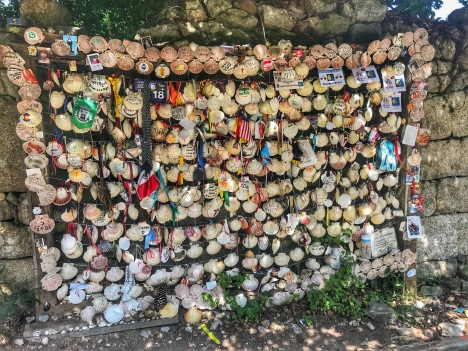 Wall of shells along The Way. Sadly, I didn't have a sharpie with me to leave my name.