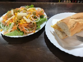 Lunch. FINALLY! A real salad. And this massive plate was a half portion! The salad plus small tortilla (omelette) sandwich cost something like 5€! I like the salad so much that's what I had for dinner too. Such a treat for me. Awesome place for vegetarians!