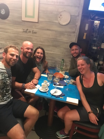 My Santiago crew. Clemens, Hunter, BJ, and Esther. Always some photo of me laughing with my mouth wide open. Dinner was at Damajuanas and great veg options!