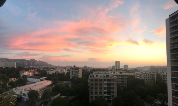 Sunset from Marjorie and Damien's apartment. An ocean view never gets old.