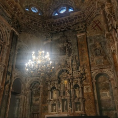 Of all the small chapels inside the church, this is my favorite. Probably because of all the Camino symbol ms on the walls.