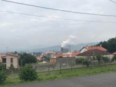 It's not all beautiful scenery on the Camino. Sometimes you walk by industrial factories spewing shit into the air.