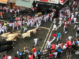 We were all Team Toro in the apartment. Sorry runners, these poor bulls have a horrible and sad fate ahead of them and you choose to run in front of them. Ha.