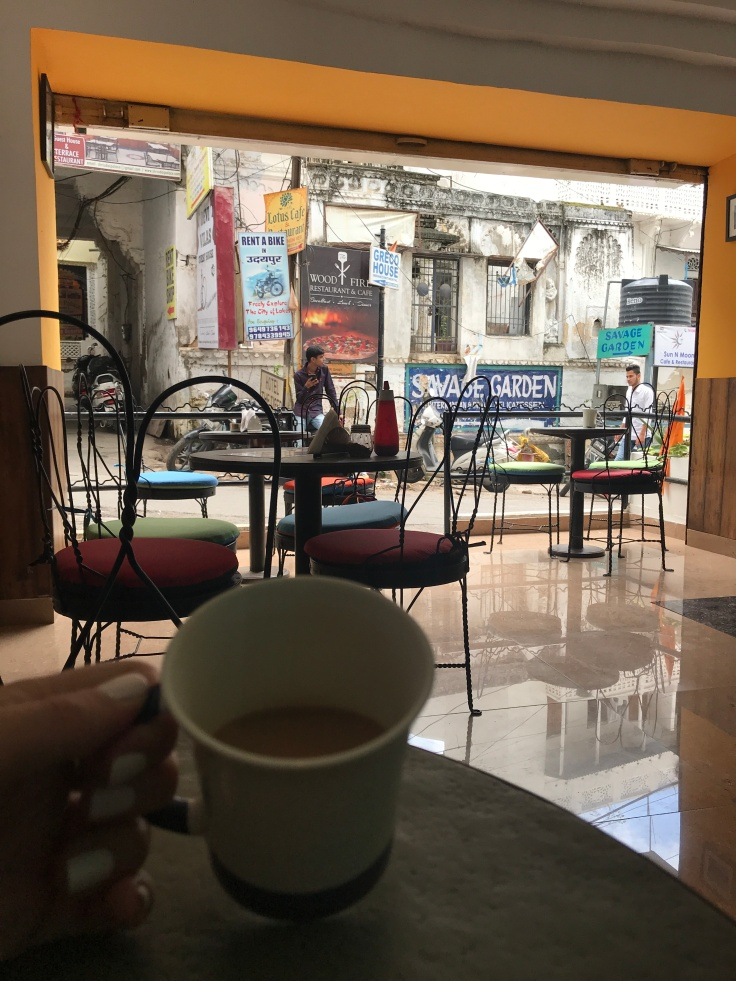 Enjoying my last few minutes in Udaipur, and really enjoying my ₹40 (about $0.50) chai latte.