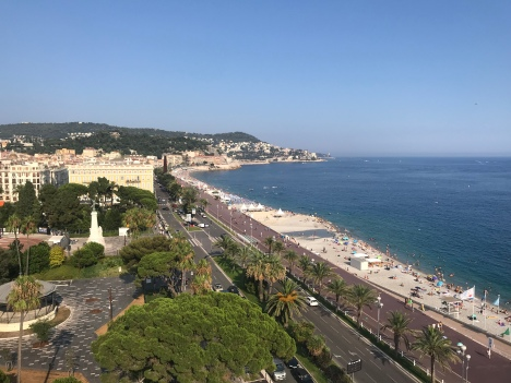 View of Nice from the rooftop at Le Meridian Hotel.