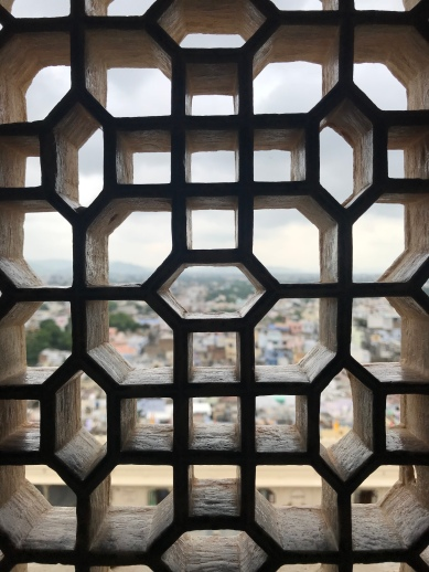 So much latticework like this throughout palaces in India. It was because the Kings' women (wives, prostitutes, etc.) were not allowed to be seen in public. So the only way they could view public ceremonies was through windows such as these, which protected their faces.