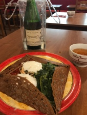 Couldn't leave France without one last crepé. This one was just stuffed with veggies, and that's fat free plain yogurt on the top- guilt free! The massive bottle of cider, not so much. But worth it!