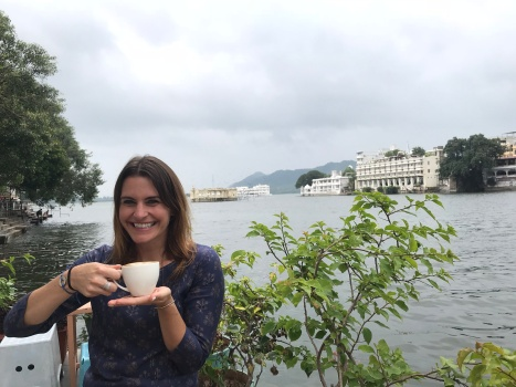 Enjoying my latte at Hotel Jheel