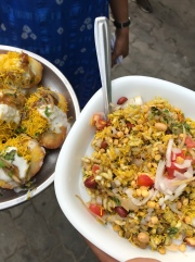 Dish on the right is Bhel Puri, and OMG!!!