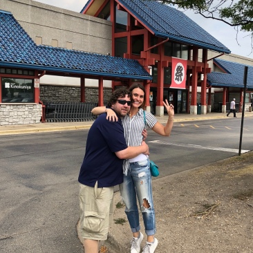 The guys took me to this wonderful Japanese Market in Chicago. And look, all I have to do is stand on a curb, on my top toes, and make sure he's bending down, and I'm taller than him!