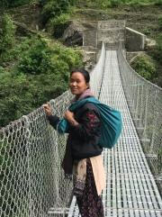 Tara, leading the way to Paudwar. This bridge was awesome.