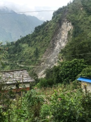 Landslide from a distance. Part of mountain life.