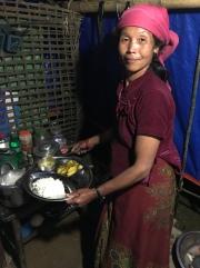 Sharmela preparing dinner.