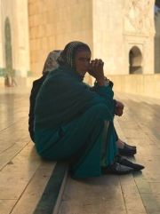Sitting outside the mosque in Casablanca.