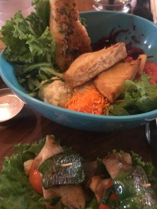 My Buddha bowl of veggies, grains, and marinated tofu was AMAZING.