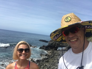 David & me in Kaena Point State Park. Gorgeous views during this hike!