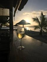 Cheers! Sunset and happy hour my first night in Vanuatu.