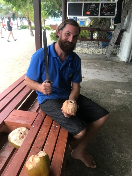 If you're lucky and nice, maybe Greg will machete a coconut for you too!