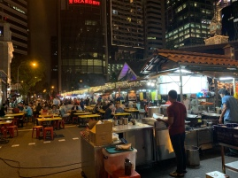The exterior of Lau Pa Sat is full of food carts selling satay.