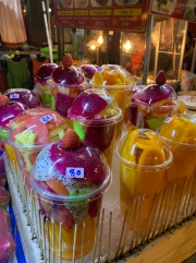 Cups of super tasty fruit for sale $1.50-$3/cup!